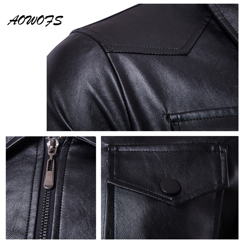 edb5f6ae4 US $40.5 40% OFF|AOWOFS Mens Leather Jackets Vintage Safari Jackets Coats  Men Multi Pockets PU Leather Jackets Male Brand Clothing Plus Size 5XL-in  ...