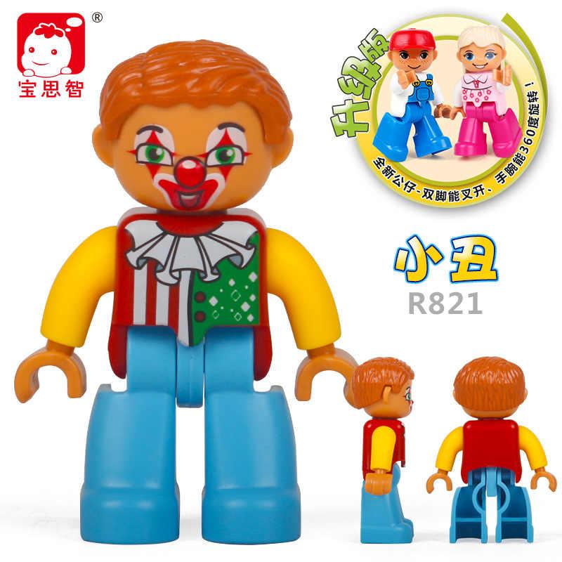 Mailackers Duplo princesa chica ingeniero bomberos/policía/Mago payaso enfermera tio zoológico médicos pirata figura bloque de juguete con LEGO Duplo