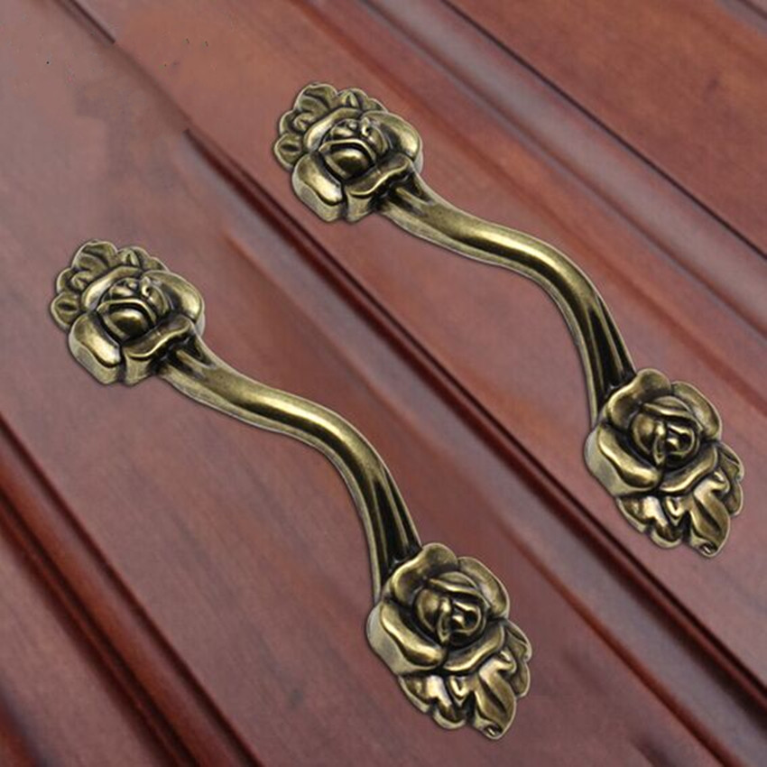 Bronze 96MM pull  Rose kitchen cabinet Handle Drawer Knobs Antique Zinc Alloy Dresser Cupboard Furniture Handles Pulls Knobs