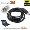 HD 720 P 6 LEDs 5 MM USB Endoscopio Endoscopio Serpiente Inspección De la Pipa de Tubo de Vídeo MINI Cámara IP67 A Prueba de agua Con 2 M Cable Flexible