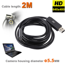 HD 720P 6LEDs 5MM USB Endoscope Borescope Snake Inspection Pipe Tube Video MINI Camera IP67 Waterproof With 2M Flexible Cable