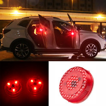 2pc Universal Car Door Warning Red Light Magnetic Induction LED Flashing Anti-collision Easy Installation wireless Safety Signal