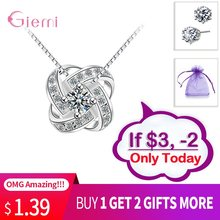 Endless Love Flower Solid 925 Sterling Silver Jewelry for Women Wife Gift Mystic Zircon Pendant Necklaces CZ Silver Jewellry(China)