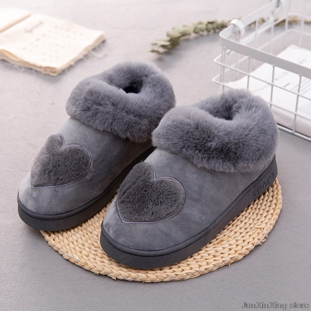 9b9e6daed8e Free Shipping Gray Pink Heart-Shaped Cotton Women Slippers Winter Warm  Plush Fur Slippers Soft Home Indoor non-slip Flat shoes