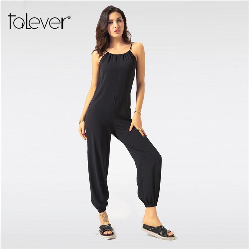 Summer Jumpsuit for Women Sexy Casual Black Sling Backless Lantern Pants Female Overalls Elegant Beach Rompers Plus Size Zevrez 1