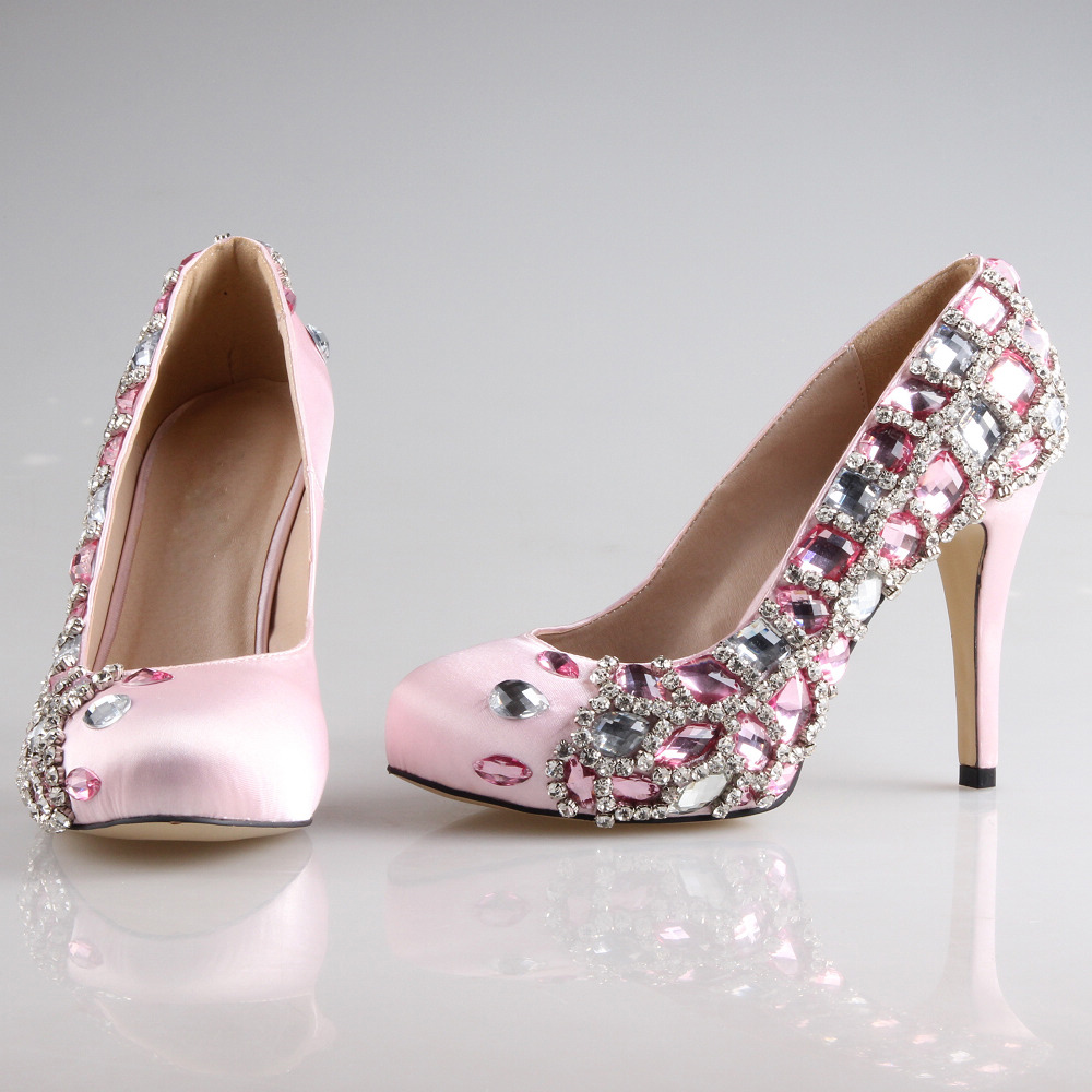 Handmade soft pink satin sewed crystals rhinestone woman shoes wedding party prom pumps dress evening bridal shoes custom colors