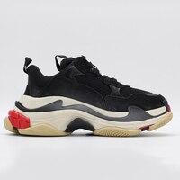 Высокое качество издание тройной S кроссовки из натуральной кожи на платформе не сужающийся книзу повседневная обувь для мужчин 23 Цвета в н
