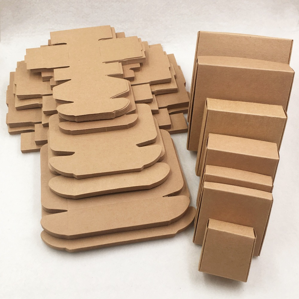 50Pcs Blank Kraft Cardboard Aircraft Paper Boxes Handmade Soap Packing Box Wedding Favor Gift Carton 8 Sizes