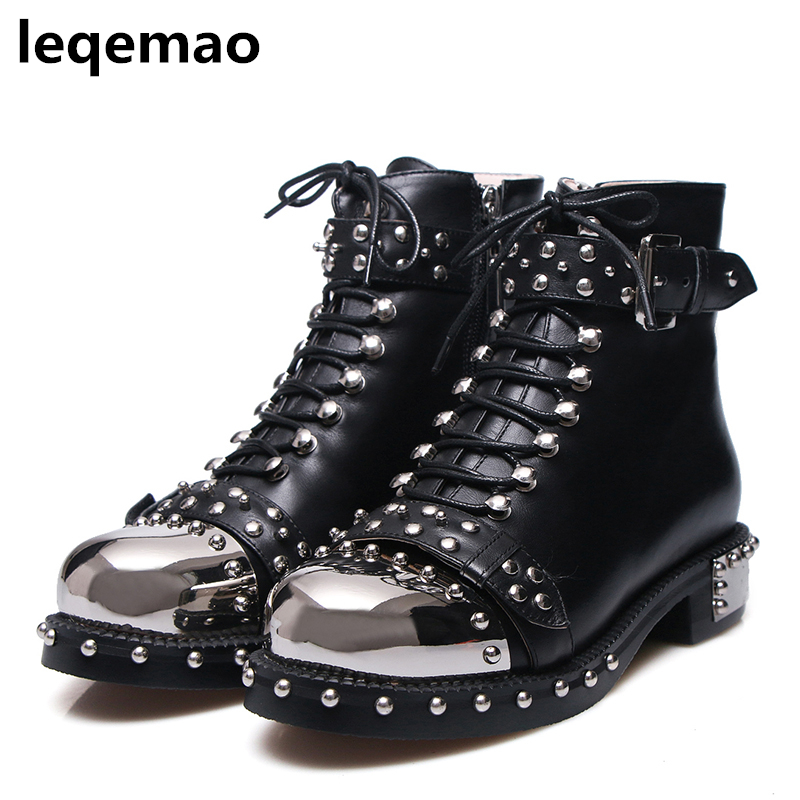 New Fashion Women Metal Front Ankle Boots Women Genuine Leather Rivets Motorcycle Boots Winter Shoes Woman Plus Size 35-40 2018 new arrival genuine leather fashion boots thick heel winter shoe motorcycle boots rivets party runway women ankle boots l09