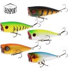Leosport 1 pçs isca de pesca topwater popper crankbait duro 6cm/6.9g flutuante iscas agudos ganchos