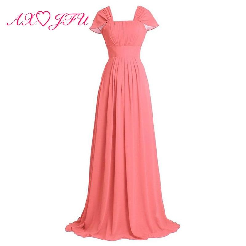 AXJFU pink Chiffon   Bridesmaid     Dresses   red princess sweetheart white blue Party long candy color long   Bridesmaid     Dresses