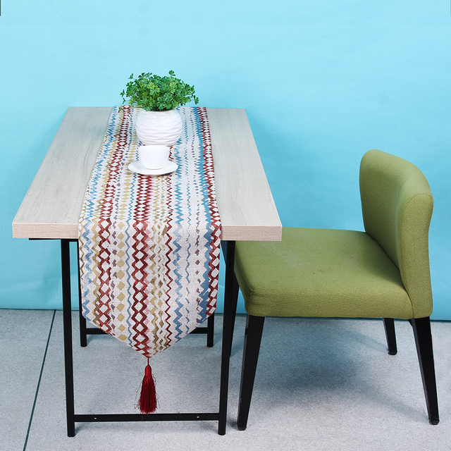 Mediterranean Style Table Cloth Fashion Polyester Desk Flag Bed Table Cover  Breathable Sweat Absorption Soft Texture