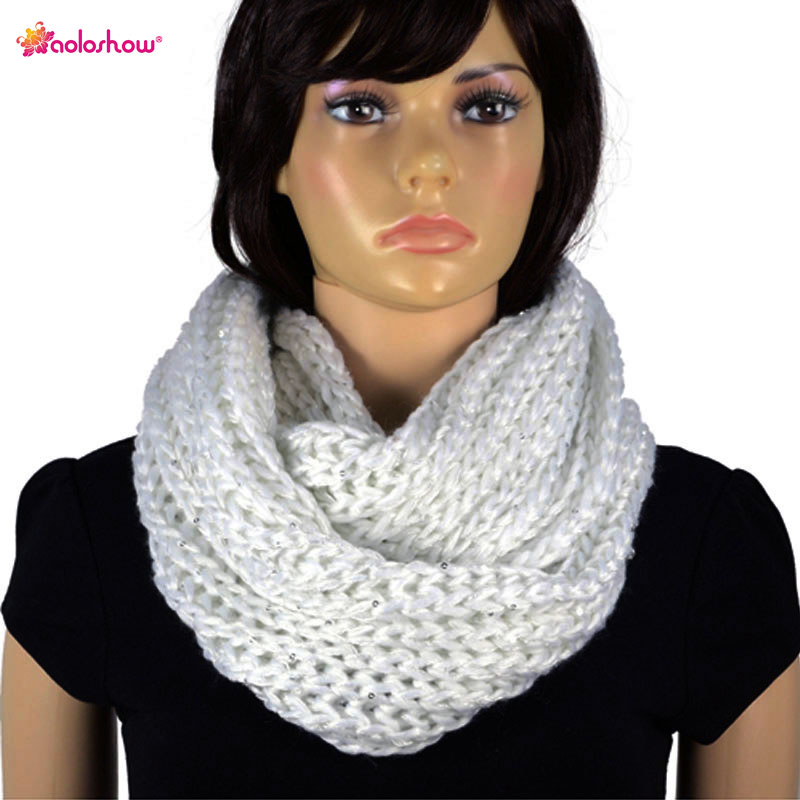 Invierno cálido bufanda para las mujeres Lentejuelas con Hilado ...