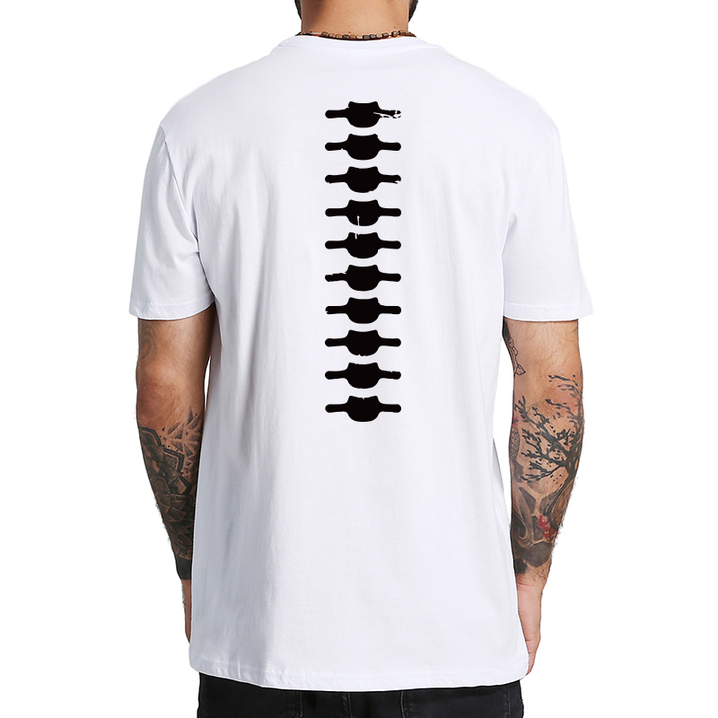 Spine Back T Shirt For Men Funny Simulation Print O-neck Tee Original Cotton T-shirt Homme Summer Tops US Size
