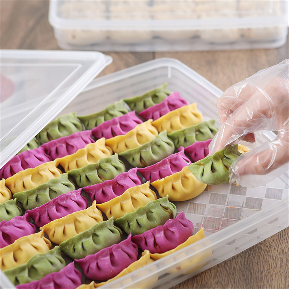 1 PC Food Storage Container Single Layer Refrigerator Food Dumplings Airtight Storage Container Plastic Box