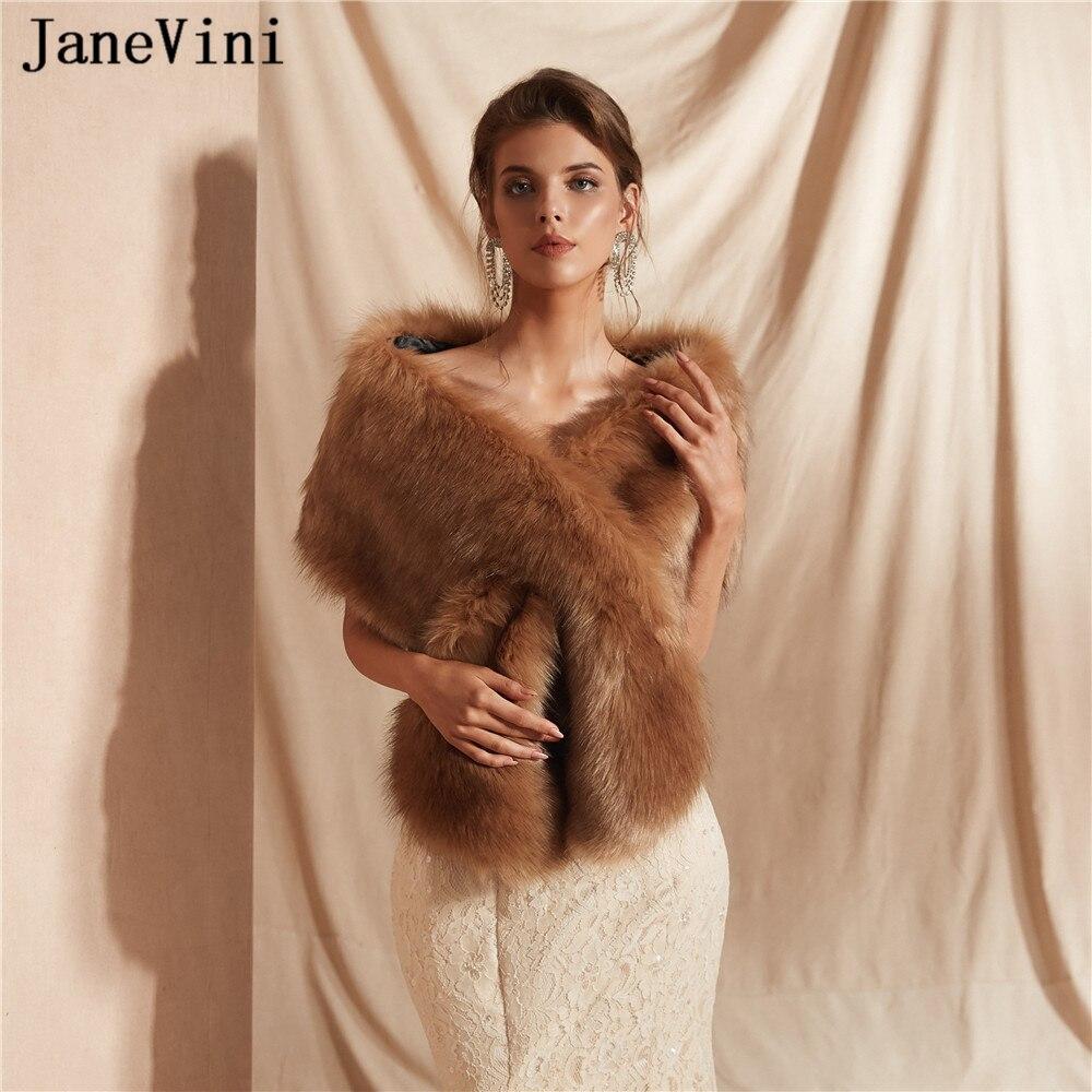 JaneVini Soft Warm Faux Fur Bridal Stole Jacket Winter Women Shawls And Wraps Elegant Wedding Cape Cloak Bolero Mariage Femme