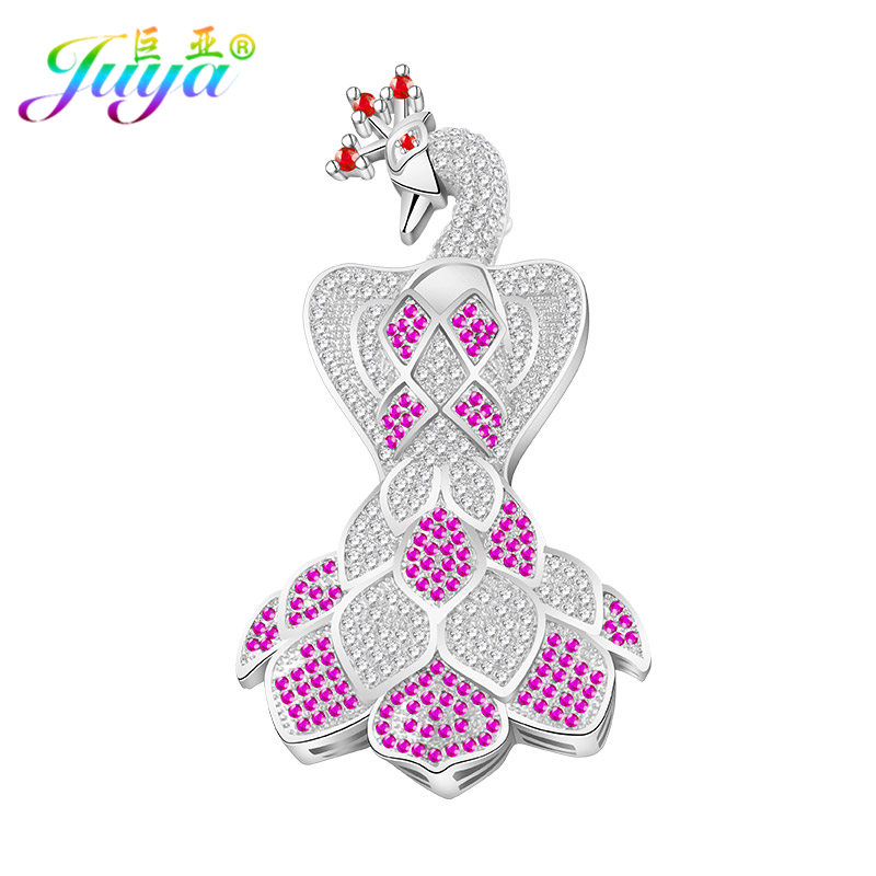 DIY Jewelry Components Supplies Copper Peacock Connector Pendant Accessories For Natural Stones Pearls Handmade Sweater Necklace