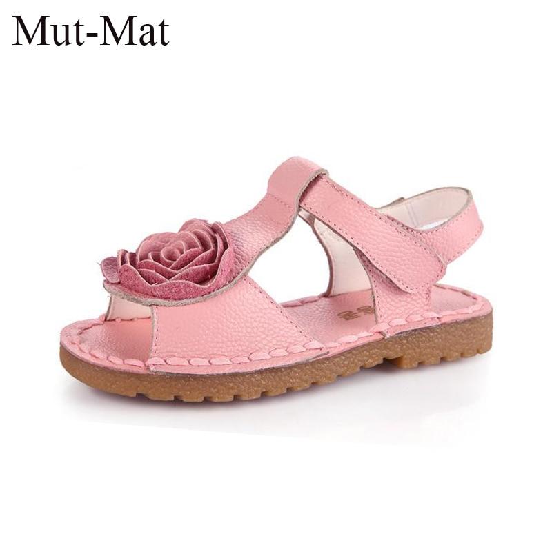 Gadis Sepatu Kulit Asli Anak-anak Musim Panas 2019 Bayi Perempuan Sandal Pantai Sepatu Skidproof Balita Anak Anak Bunga