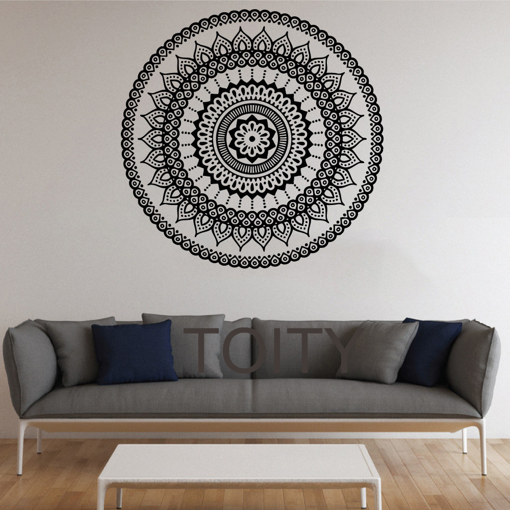 mandala wall stickers indian round pattern pattern symbol vinyl decal namaste namaste yoga art. Black Bedroom Furniture Sets. Home Design Ideas