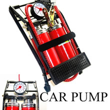 easy to use Car TWO pump air compressor Car-styling Foot Air Pump 100PSI Car Vehicle Tires Bicycle Bike Motorbike Ball Inflator