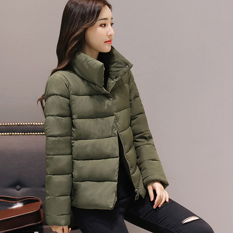 Fashion Women Winter   Basic     Jacket   Stand Collar Solid Autumn Female Coat Outwear Ladies Casaco Feminina Inverno Tops