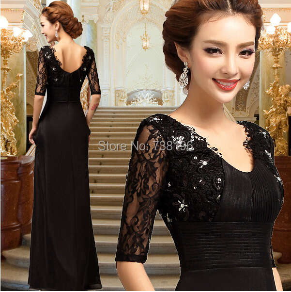 2016-Ready to ship Promotion Wholesale chiffon Half of Sleeve black lace Bridesmaid Dresses Free Shipping vestidos-de-fiesta