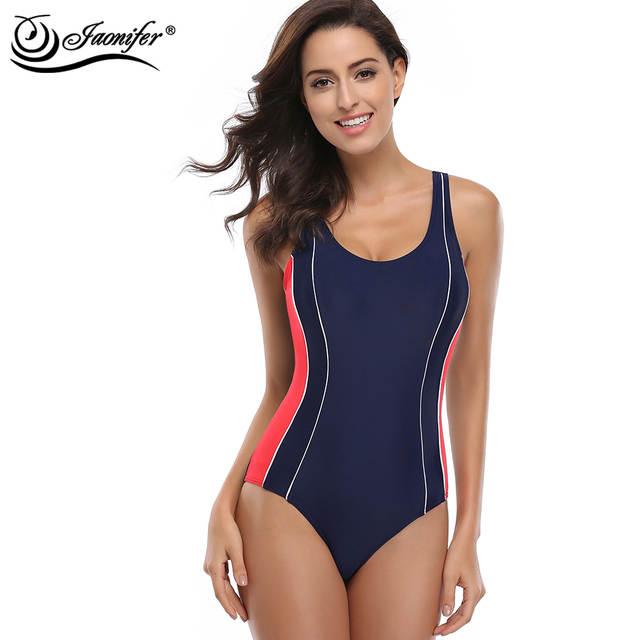 547254e3328f6 JAONIFER Women Professional Sport One Piece Swimsuit Sports Swimwear  Bathing Suit Brazilian Bathing Suit Sport Beachwear
