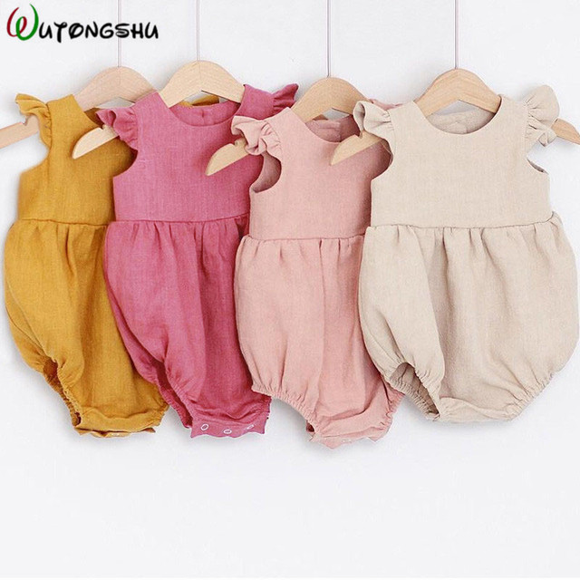 Spring Newborn Girls Bodysuits Linen Cotton Sleeveless Baby Clothes Summer Ifant Toddler Newborn Jumpsuit Outfits Baby Clothing