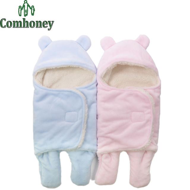 Bebé recién nacido Pañales Manta de Franela de Invierno Animal Bebé Swaddle Manta Con Capucha Envolvente Saco de dormir Del Niño Del Bebé bolsa de ropa de Cama