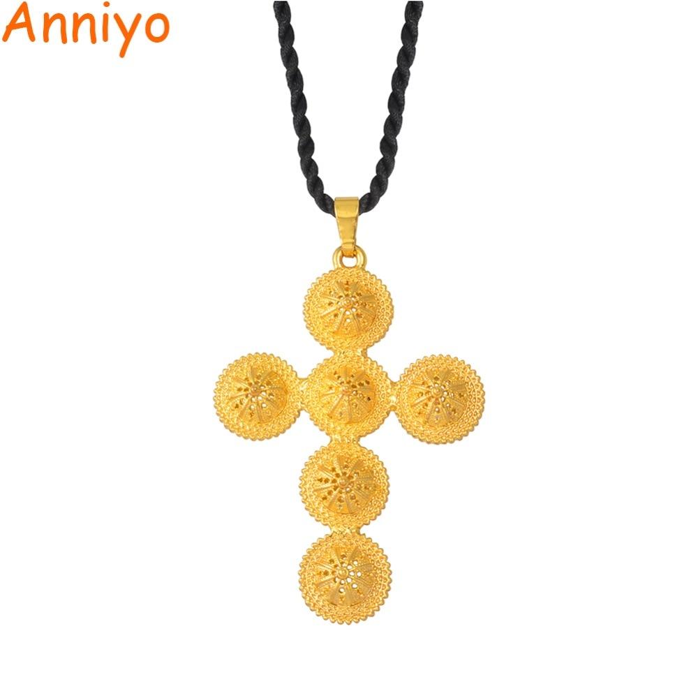 Annio Ethiopian Cross Big Cross Pendant & Black Rope For Women Men Gold Color African Jewelry Eritrea Cross #160706