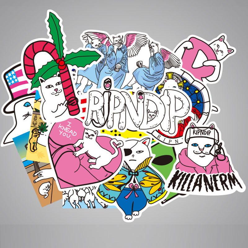 50pcs Funny Ripndipp Sticker Creative Personality Waterproof Rip N Dip Laptop Sticker For Finger Skateboard Car Styling Decal