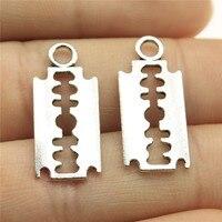 40 unids/lote 0,9x0,4 pulgadas (24x11mm) hojas de afeitar colgantes para hacer joyas colgantes antiguos de aleación de Color plata