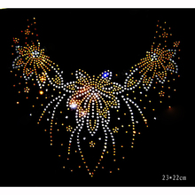 Neckline Collar rhinestones motif heat transfer iron on patch garment  accessories for T shirt and scarf 32671af4178a