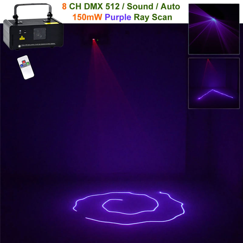 AUCD Mini Remote 8 CH DMX 150mW Purple Beam Laser Scanner Lights DJ Party Bar Projector Professional Stage Lighting  DM-V150 metsan mts 150 purple