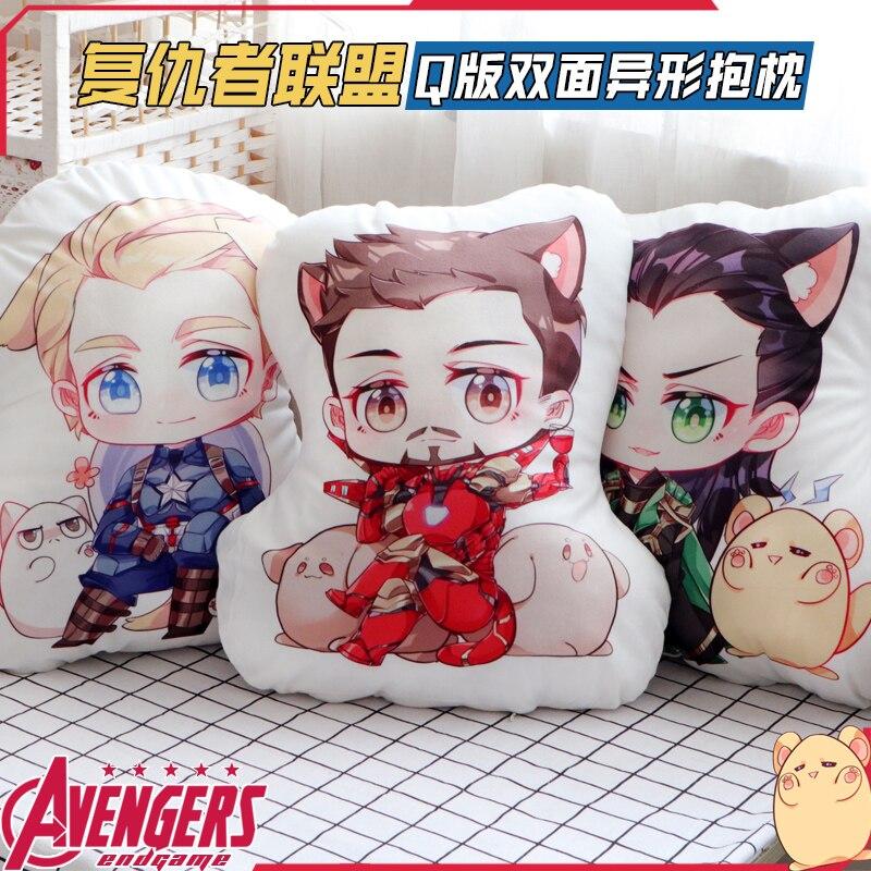 Marvel's Movie The Avengers Thor Loki Iron Man Anime Cosplay Doll Plush Stuffed Cushion Throw Pillow Toy Boy Girl's Xmas Gift