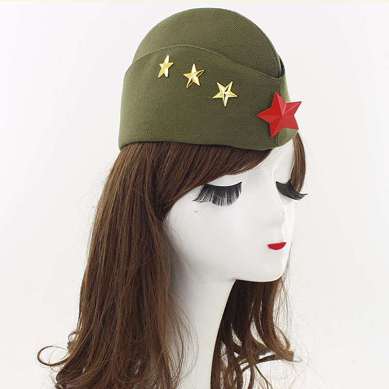 New Square Dance Performance Canvas Boat Hat Army Fan Stewardess Boat Cap Autumn Winter Five Star Chain Beret Sailor Hat BH