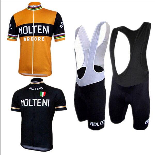 Prix pour Molteni/ropa ciclismo Vélo jersey sportwear Pro Vtt Manches Courtes Vélo vêtements Vélo jersey Vélo Hombre orange noir ensemble