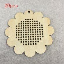 Цветок в форме деревянного крестика вышивка diy пустой кулон
