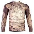 2016 primavera nova moda 3D T de manga longa com capuz de dragão impresso t-shirt Tops da marca de roupas