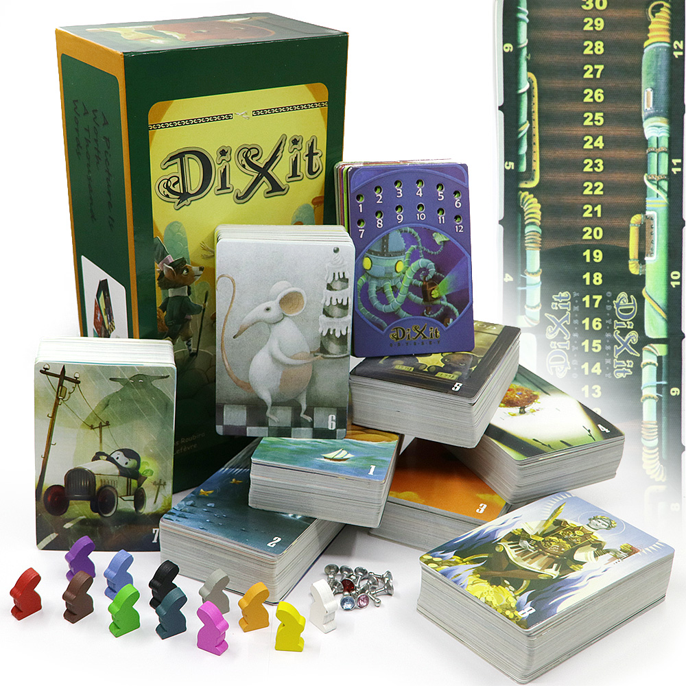 Dixit 1 2 3 4 5 6 7 8 Board Games For Kids Educational Toys Wooden Bunny Total 672 Cards 12 Players For Party Cards Game