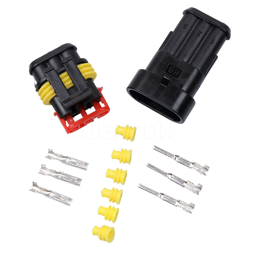 3 Sets Car Pin Way Amp Seal Hid Waterproof Connector Wire Automotive Wiring 3p Plug Electrical Auto Xenon Lamp Motorcycle In Cables Adapters Sockets