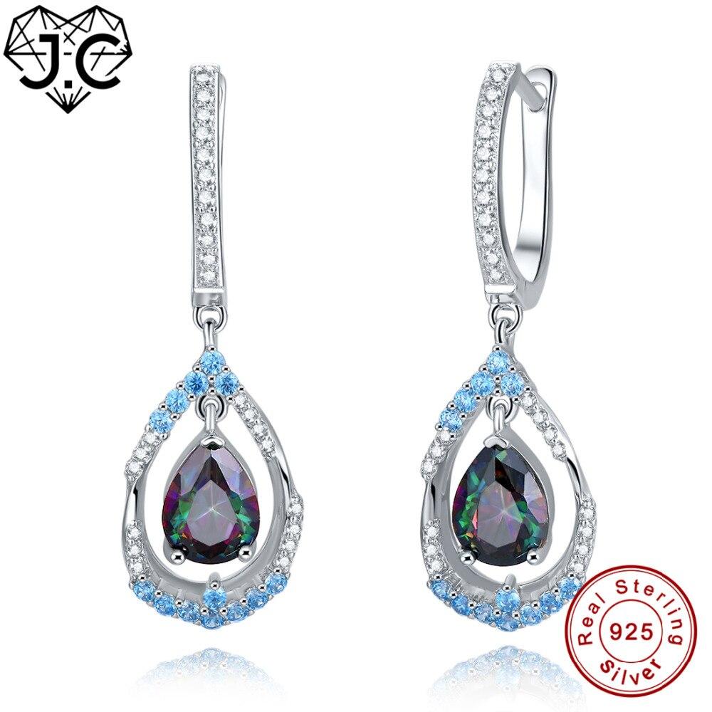 J.C Fashion Fine Jewelry Party Earrings Rainbow Blue Topaz Fine Jewelry Earrings Genuine 925 Standard Sterling Silver Earrings