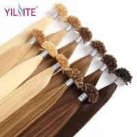 YILITE Straight Keratin Human Fusion Hair Nail U Tip Non remy Human Hair Pre Bonded Hair Extension 18'' 1g/s Muti Colors