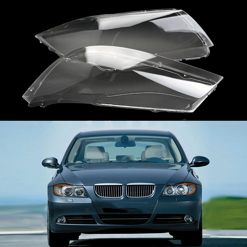 Mayitr 1 Pair Front Headlight Plastic Clear Lens Cover For BMW E90/E91 04-07 Polycarbonate Left & Right Headlamp Shell