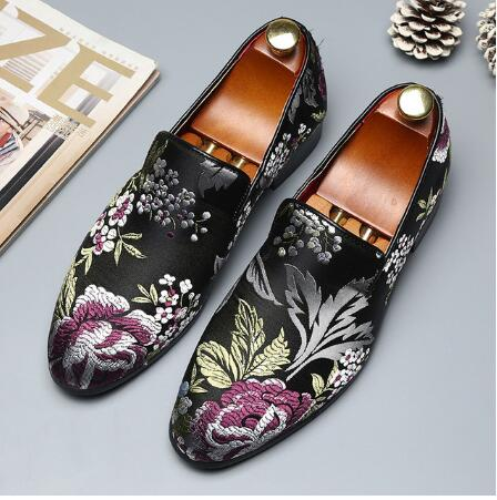 Shoes Flats Handmade Elegant Colorful Fashion Business Plus-Size Casual Man 48 H298 Embroidery