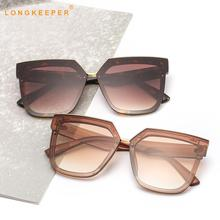 LongKeeper Cat eye Sunglasses Women Oversized Irregular Sun Glasses Retro Female Travel Eyewear UV400 Gafas de sol