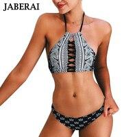 JABERAI 2017 High Neck Bikini Swimsuit Women Swimwear Brazilian Bikini Set Floar Print Halter Top Beach