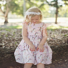 Summer Girls Dresses Baby Cartoon Dinosaur Printed Dress for Cute Animals Stripes Girl Sweat