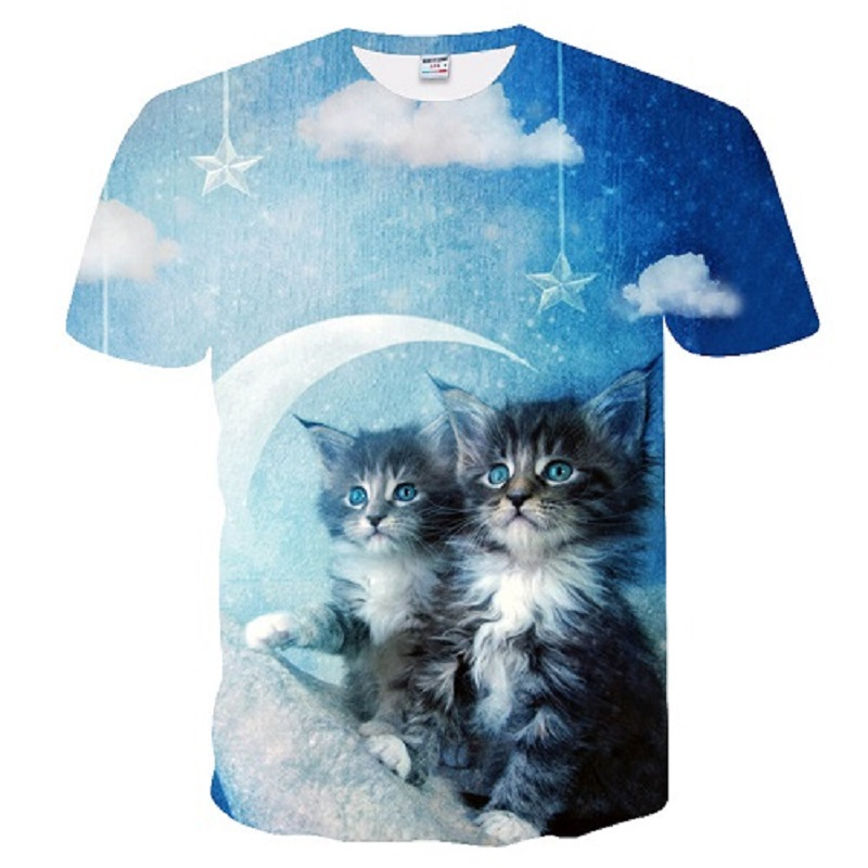 Summer new men and women casual lovers t shirts 3d cat series printed short-sleeved t shirt.
