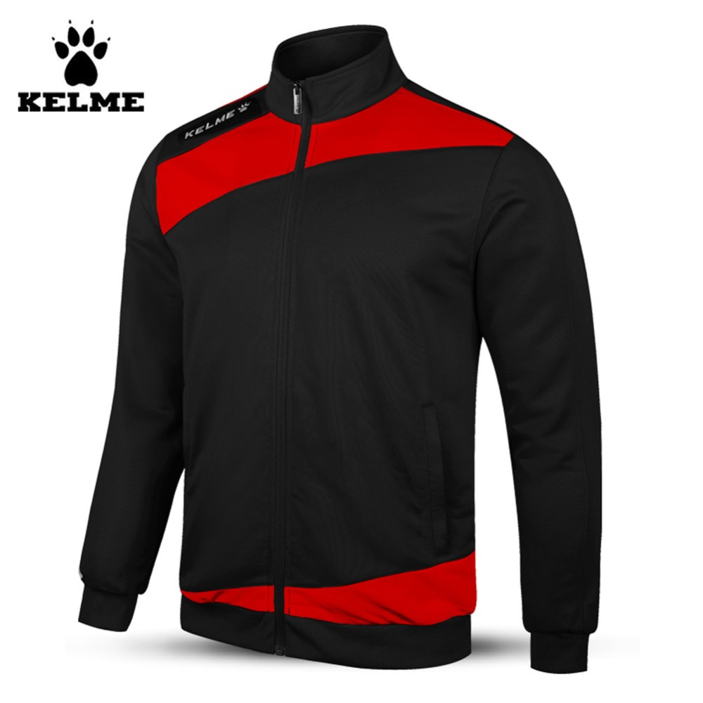 Kelme Child Full Zip Knitted Long Sleeve Stand Collar Football Training Jacket Black Red K15Z315 zip up long sleeve drawstring hooded jacket odm designer